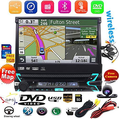 Caméra de recul sans Fil Incluse. 1 Din in Dash 17,8 cm Écran Tactile détachable Autoradio GPS avec Carte SD Lecteur DVD Support iPod HD Vidéo Dab+