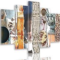 Feeby Frames, Quadro multipannello di 5 pannelli, Quadro su tela, Stampa artistica, Canvas Tipo A, 100x150 cm, MODERNO, COLLAGE, DOLCI, GRANO, CAFFÈ, TAZZA, MARRONE, MULTICOLOR