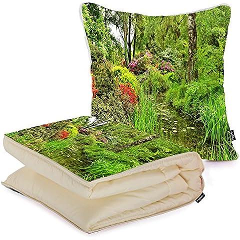 i FaMuRay Custom Home and Office Folded Blanket Pillow, Garden Landscape Nature Park Pond Shrubs Trees
