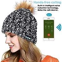 E-More Bluetooth Hat, Wireless Bluetooth Music Beanie Cap, Women Wireless Winter Warm Hat with Wireless Headphone Headset Speaker Mic Hands Free for Running Skiing Skating Hiking