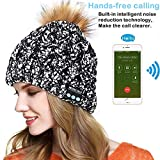 E-More Bluetooth Hat, Wireless Bluetooth Music Beanie Cap, Women Wireless Winter Warm Hat with Wireless Headphone Headset Speaker Mic Hands Free for Running Skiing Skating Hiking