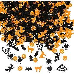 Aneco 150g Halloween confeti calabaza araña murciélago bruja gato asperja mesa confeti brillante set de decoración de noche de halloween