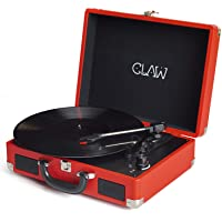 Claw Stag Portable Vinyl Record Player Turntable with Built-in Stereo Speakers (Red)
