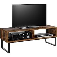 Homfa Meuble TV Vintage Meuble Télévision Bas Table Basse Table de Salon en Bois et Fer 108×40×40cm
