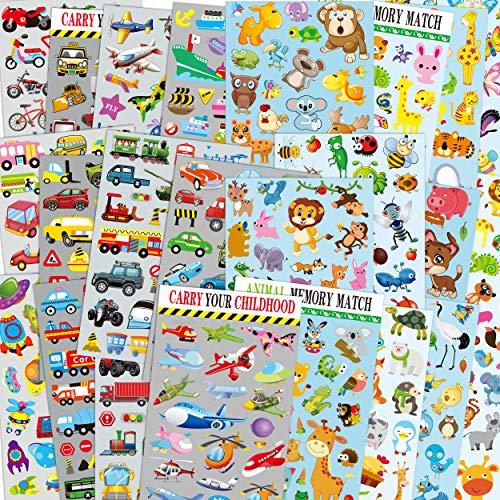 Autos & Tiere Sticker-Packs für Kinder, 24 Bögen ohne Wiederholungsmuster mit Autos, Flugzeugen, Zügen, Polizeiautos, Feuerwehrautos, Insekten, Vögeln, Schmetterlingen