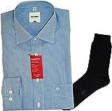 Olymp Hemd Luxor Comfort Fit - langarm, New Kent Kragen, blau, Zündholzstreifen + 1 Paar hochwertige Socken, Bundle