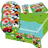 37-teiliges Party-Set Farm Fun - Bauernhof - Tiere - Teller Becher Servietten Tischdecke für 8 Kinder