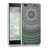 kwmobile Huawei P8 Lite (2015) Hülle - Handyhülle für Huawei P8 Lite (2015) - Handy Case in Grün Weiß Transparent