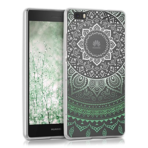 Kwmobile huawei p8 lite (2015) cover - custodia in silicone tpu per huawei p8 lite (2015) - backcover cellulare verde/bianco/trasparente
