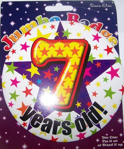 7 years old birthday badge for boy by Simon Elvin