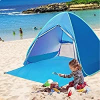 TopDirect Pop-up Beach Tent, 2-3 Persons Portable Outdoor Automatic Beach Tent with Zipper Door Waterproof Anti-UV (50+ UPF) Sun Shelter Protection Beach Shade Camping Tent for Outdoor Activities