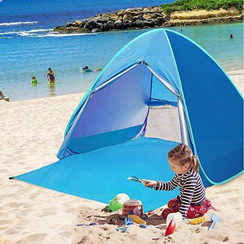 Topdirect tenda da spiaggia, tenda istantanea da campeggio pop-up con cerniera porta e protezione uv 50+ per 1 o 2 persone, apertura istantanea pop up, blu