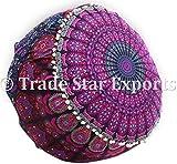 indien Mandala Housse de pouf, coton Ottoman Pouf repose-pieds, ethnique décoratifs Housse de coussin d'assise, bohème de sol rond Pouf, Tapisserie Housse de pouf, hippie Home Decor