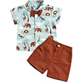 Borlai Ropa de verano para bebés y niños con estampado de animales, manga corta, traje para niños con corbata, camisa con pan