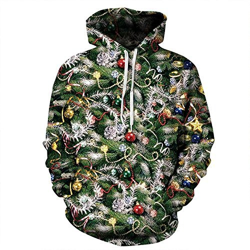 Cfanny Couple Cute 3d Babbo Natale Stampa Ugly tasca Felpa con cappuccio Christmas Lights Hoody Large