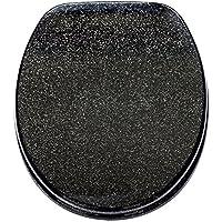 Sanilo WC Sitz mit Absenkautomatik Glitzer Schwarz | hochwertige Oberfläche | einfache Montage | stabile Scharniere   A642736
