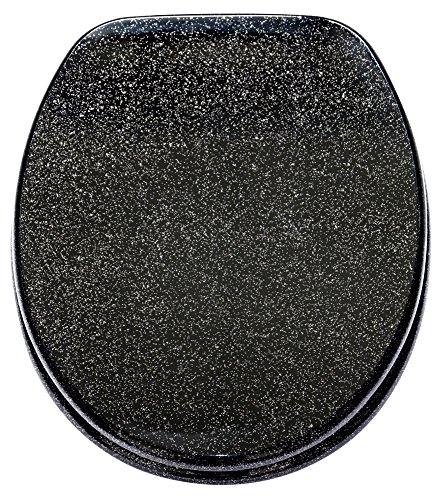 Preisvergleich Produktbild Sanilo WC Sitz mit Absenkautomatik Glitzer Schwarz | hochwertige Oberfläche | einfache Montage | stabile Scharniere   A642736