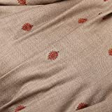 Pashtush Women's Embroidered Beige Wool shawl with Stiched Maroon Palla