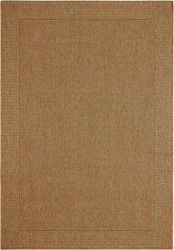 F & S BRIGHTON 160 x 230 cm castaña alfombra moderna Flat Weave en aspecto de Sisal para sala de estar, dormitorio, pasillo, oficina, balcón y patio. Para uso INTERIOR y EXTERIOR. Fabricado en EUROPA OCCIDENTAL