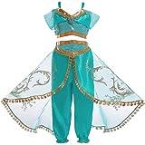 Children's Dress Aladdin's Lamp Cosplay Costume Jasmine Princess Girl Dress Role Costume Two-piece