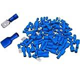 Shentian Kabelschoenen x 100 - platte stekker blauw x 50 / platte steekhulzen blauw x 50 - steekmaat 6,3 mm, knelverbinding,