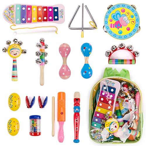 WloveTravel Kids Musical Instruments Wooden Toddler Musical Toys Set Girls Boys Baby Gift with Backpack