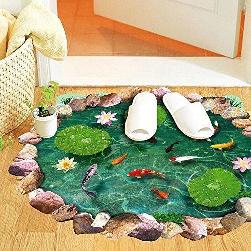 Winhappyhome realistici Lotus Pond pesci rossi rimovibili decalcomanie a terra Adesivi per soggiorno Bagno (Nursery Bagno)