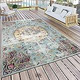 Paco Home In- & Outdoor Teppich Modern Orient Print Terrassen Teppich Wetterfest Türkis, Grösse:200x280 cm