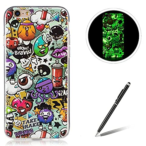 iPhone 6/6S 4.7 Inch TPU Case Coque iPhone 6/6S Gel Housse Feeltech [Gratuit Stylet Pen] Luminous Effect Noctilucent Green Glow in the Dark Matte White Ultra Slim Soft Rubber Shock Absorber Flexible Bumper Protective Cover Skin Shell pour Apple Apple iPhone 6/6S with Stylish Unique Colourful Printed Pattern Design - Peinture Graffiti