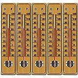 5 x Holzthermometer Set Wandthermometer Thermometer Temperatur Außenthermometer Gartenthermometer