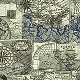 100% Baumwolle Stoff | Ecru / Blau | Reisen 'Landkarte' |