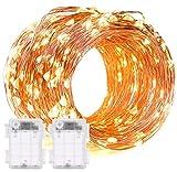 2 Stück 60er Micro LED Lichterkette Draht Batterie-betrieben Kupferdraht Lichterketten mit Timer Warmweiß Wasserdicht für Innen und Außen Weihnachtsbeleuchtung Deko Von Decornova