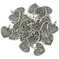MagiDeal Lot de 50 Charms Coeur Pendentifs Fabrication de Bijoux Couleur d'Argent Antique