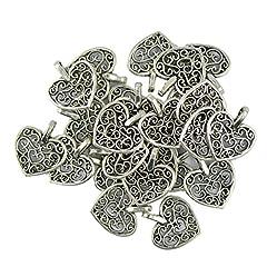 Idea Regalo - 50pz Tibetano Di Fascini Pendente Cuore Filigrana Ciondoli D'argento per Gioielli Fai Da Te