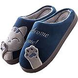 Zapatillas de Estar por casa Gato para Mujer Niña Invierno Interior Caliente Suave Antideslizante Slippers Hombre Niño