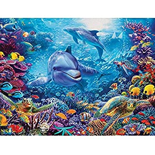 Diamond Painting Kit Full Drill, DIY 5D Embroidery Painting Cross Stitch Underwater World Dolphin Rhinestone Pictures Crystal Drawing Arts Craft for Home Wall Living Room Bedroom Office Decor Mural