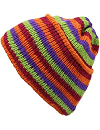WOOL KNIT STRIPEY BEANIE HAT FLEECE LINED
