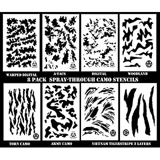 Acid Tactical® Mylar Paint Camouflage Stencils 10mil DIY Hunting Rifle Gun Camo Combo 8 Pack