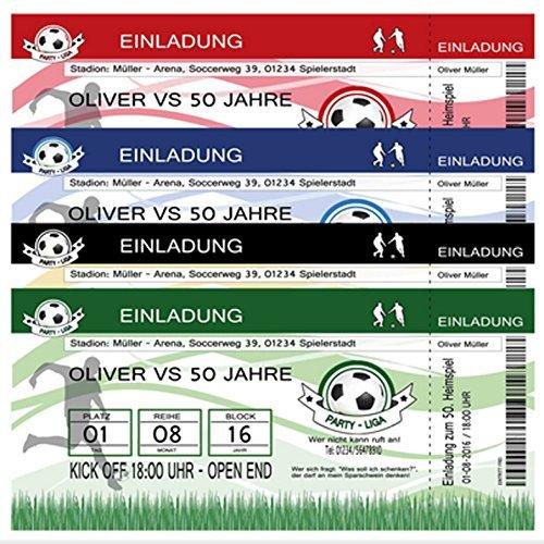 50 Einladungskarten zum Geburtstag Fußball Fussball-Ticket Einladung Party - 50 Stück