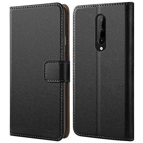 HOOMIL Handyhülle für OnePlus 7 Pro Hülle, Premium PU Leder Flip Schutzhülle für OnePlus 7 Pro Tasche, Schwarz