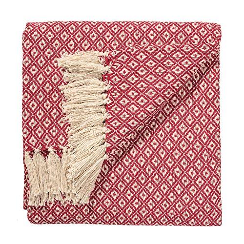Plaid commerce équitable en 100% coton tissé main - Motif losanges, rouge, 130x 180cm TH136RD