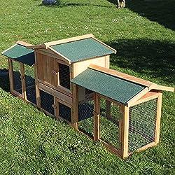 WilTec Clapier de Lapin Cage Cochons d'Inde XXL Enclos extérieur Rongeurs Animaux domestiques Bois