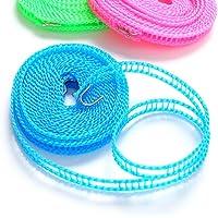 MoonyLI Corde à Linge en Nylon Corde à Linge antidérapante Portable Coupe-Vent avec Corde à Linge à Crochet métallique…