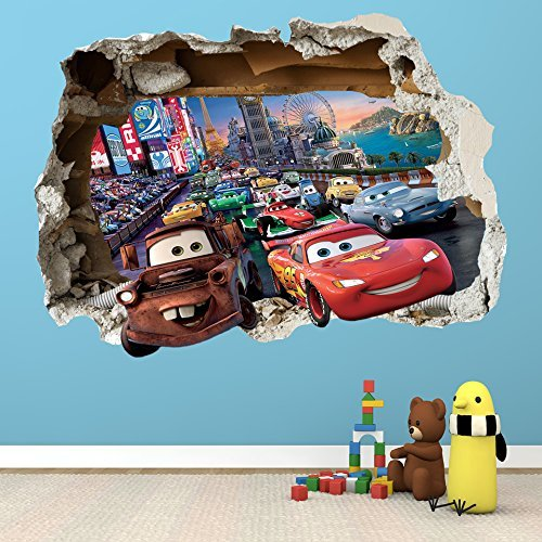 Image of DISNEY CARS SMASHED WALL STICKER - BEDROOM BOYS GIRLS VINYL WALL ART