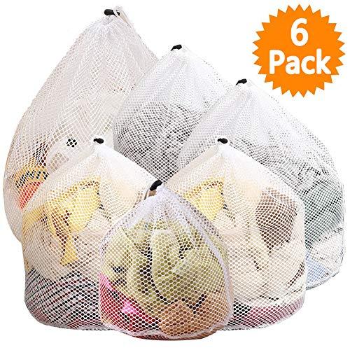 Wäschenetz, JTENG 6 Stück Waeschesack Waschmaschine mit Zugkordel und Wiederverwendbare, Wäschesack für Dessous, Hemden, Socken und Baby Kleidung