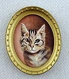 Melody Jane Dolls Houses Puppenhaus Miniatur Zubehör Katze Portrait Bild Gemälde oval Goldrahmen
