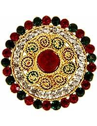 Adoreva Gold Red Green White Alloy Adjustable Finger Ring for Women