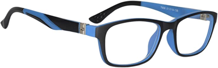 Peter Jones Black and Blue Unisex Rectangular Optical Frame with Flexible Temples (7656IBL)