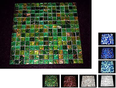 1 Netz Glasmosaik 4 mm Grün Gold von Mosaikdiscount24 auf TapetenShop