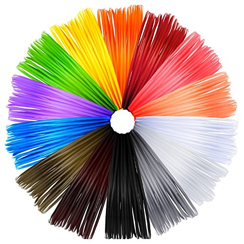 Anpro 14 Piece 3D Printer Filament for 3D Print Pen Multicolor Pack 1.75mm ABS - 280 Linear Feet with Total of 14 Different Colors in 20 Foot Lengths